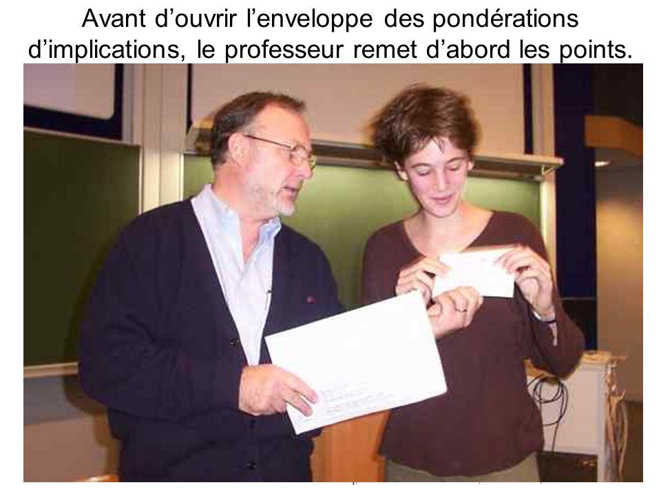 Leclercq, Micro PARMs MFPA, STE ULG, 2002 33 Avant d'ouvrir l'enveloppe des pondérations d'implications, le professeur remet d'abord les points.