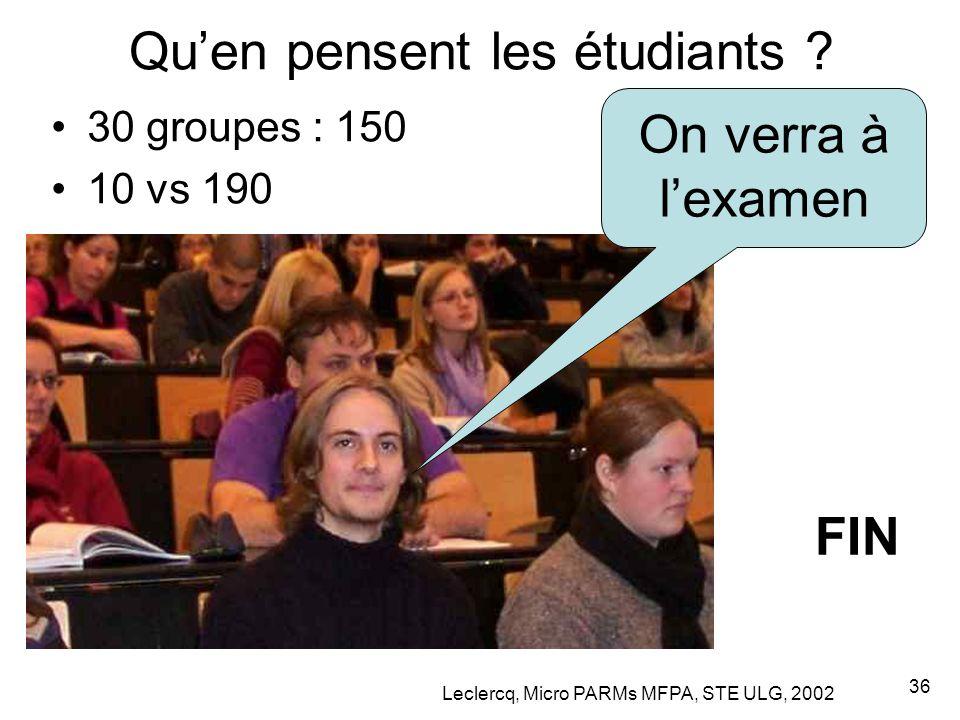 Leclercq, Micro PARMs MFPA, STE ULG, 2002 36 Qu'en pensent les étudiants ? 30 groupes : 150 10 vs 190 On verra à l'examen FIN
