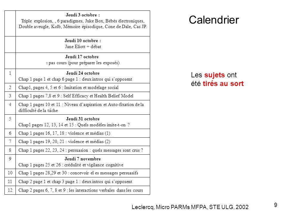 Leclercq, Micro PARMs MFPA, STE ULG, 2002 9 Calendrier Chap 2 pages 6, 7, 8 et 9 : les interactions verbales dans les cours12 Chap 2 page 1 et chap 3