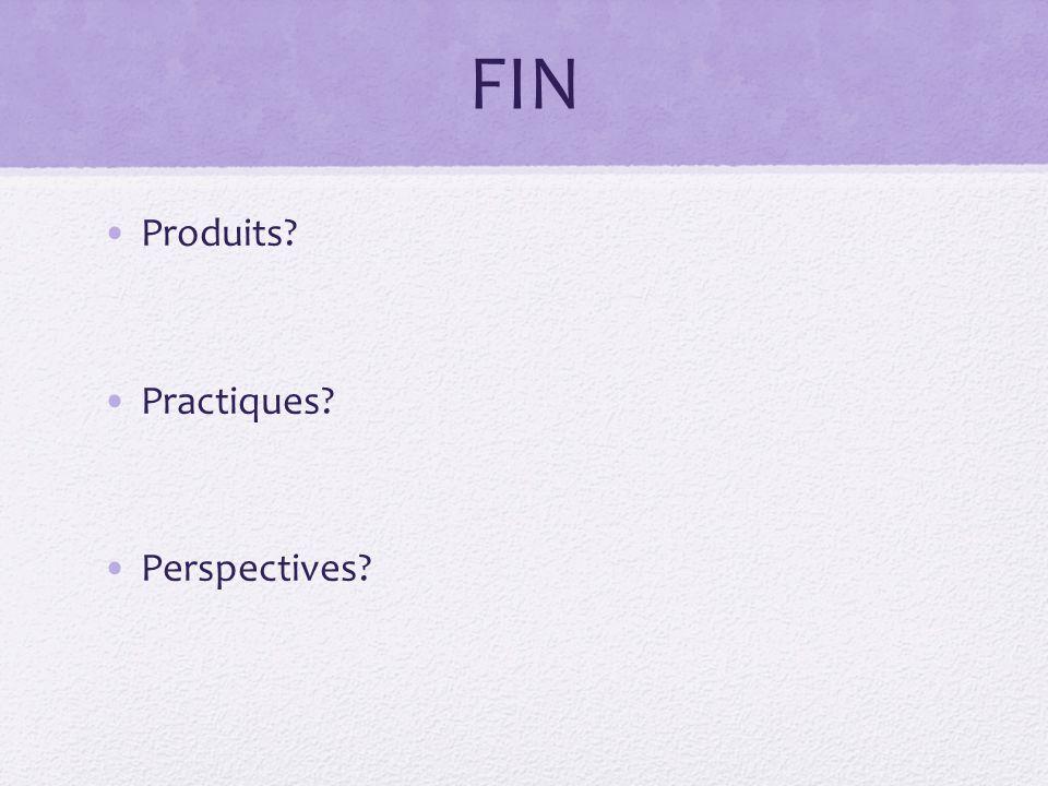 FIN Produits? Practiques? Perspectives?