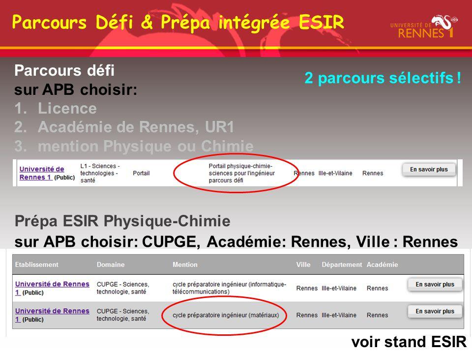 Parcours Défi & Prépa intégrée ESIR Parcours défi sur APB choisir: 1.Licence 2.Académie de Rennes, UR1 3.mention Physique ou Chimie sur APB choisir: C