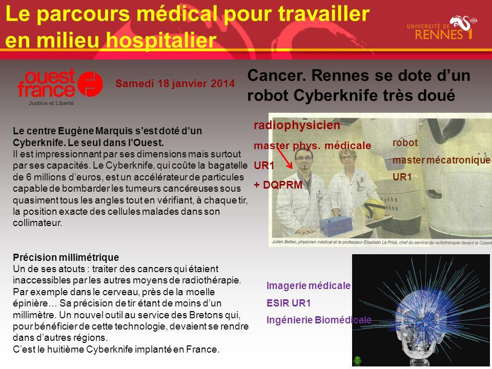 Samedi 18 janvier 2014 Cancer. Rennes se dote d'un robot Cyberknife très doué Le centre Eugène Marquis s'est doté d'un Cyberknife. Le seul dans l'Oues