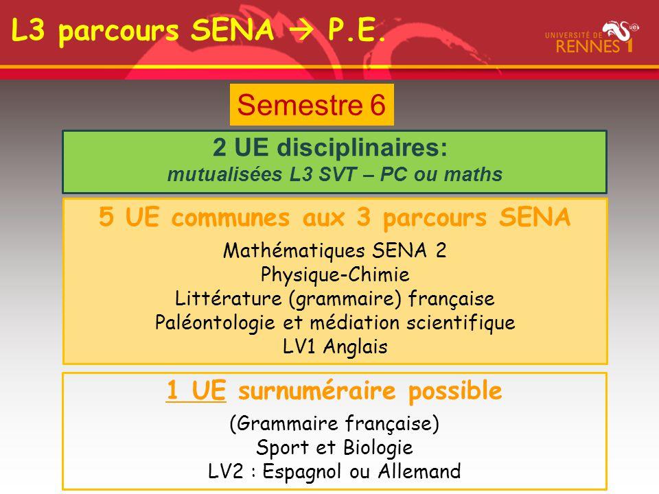 Semestre 6 2 UE disciplinaires: mutualisées L3 SVT – PC ou maths 5 UE communes aux 3 parcours SENA Mathématiques SENA 2 Physique-Chimie Littérature (g