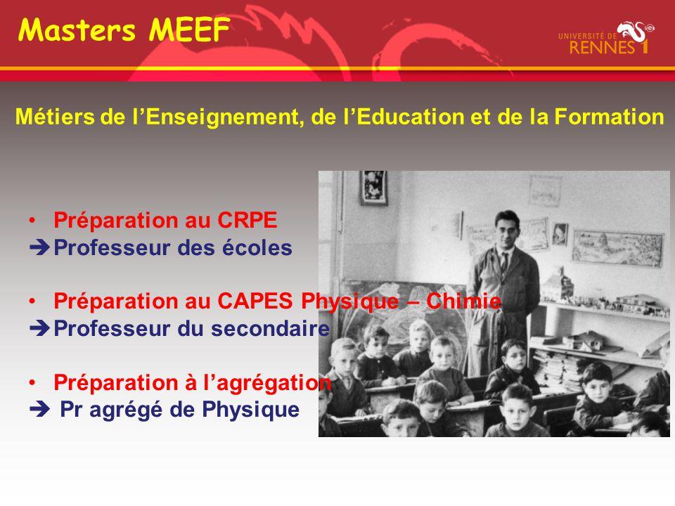 Masters MEEF Métiers de l'Enseignement, de l'Education et de la Formation Préparation au CRPE  Professeur des écoles Préparation au CAPES Physique –