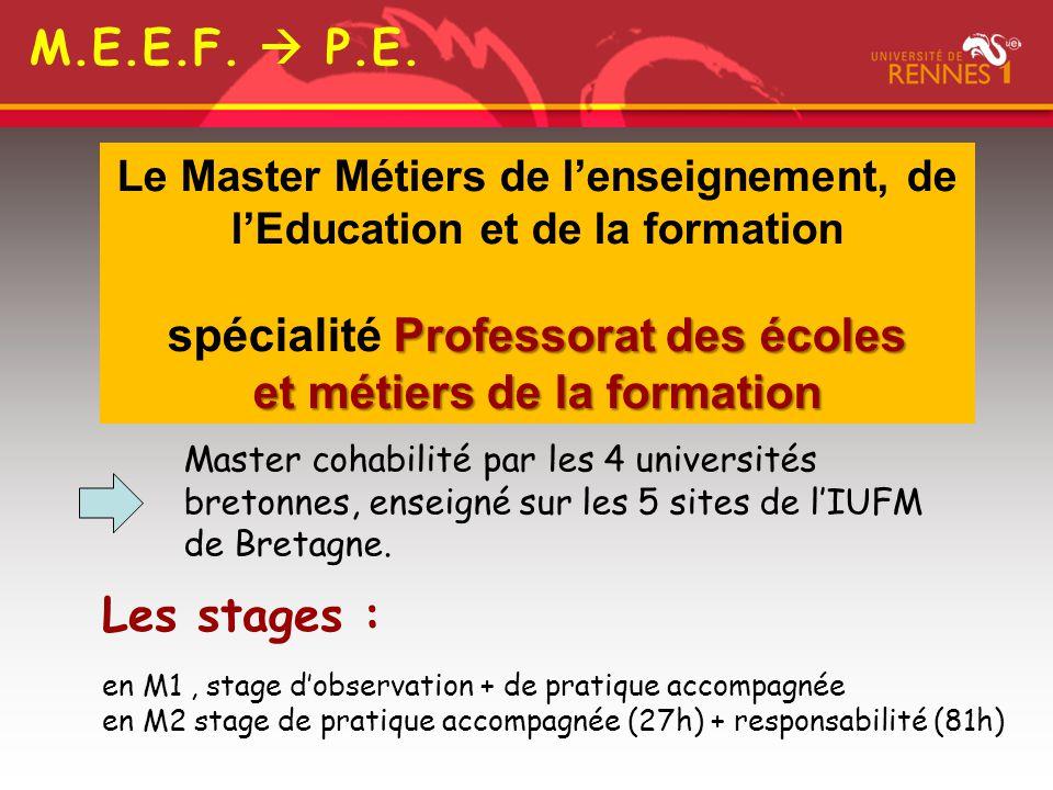Professorat des écoles Le Master Métiers de l'enseignement, de l'Education et de la formation spécialité Professorat des écoles et métiers de la forma