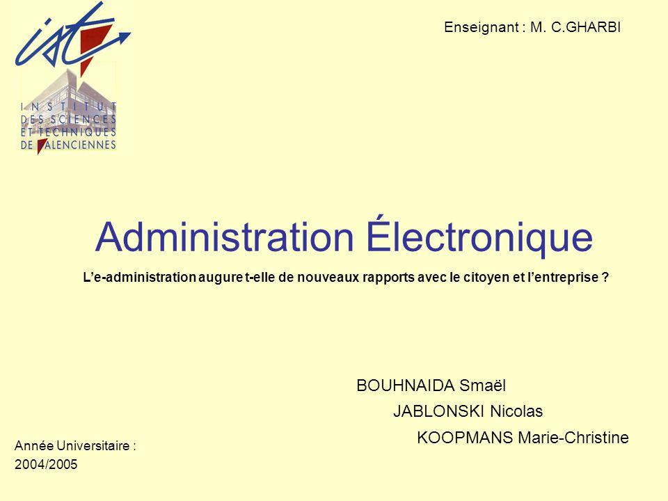 Administration Électronique Enseignant : M.