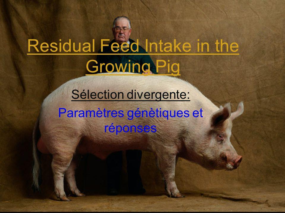 Residual Feed Intake in the Growing Pig Sélection divergente: Paramètres génètiques et réponses