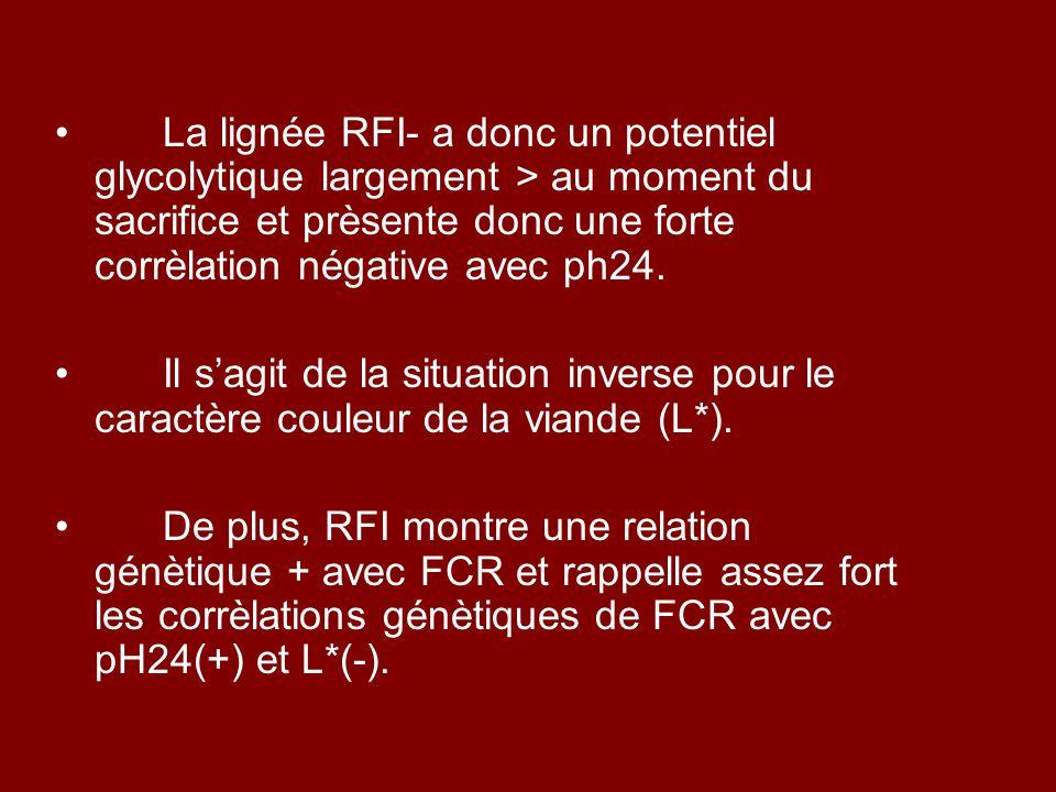 La lignée RFI- a donc un potentiel glycolytique largement > au moment du sacrifice et prèsente donc une forte corrèlation négative avec ph24. Il s'agi