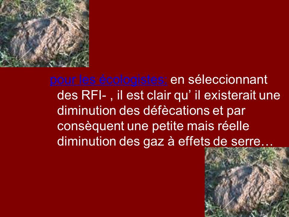 pour les écologistes: en séleccionnant des RFI-, il est clair qu' il existerait une diminution des défècations et par consèquent une petite mais réell