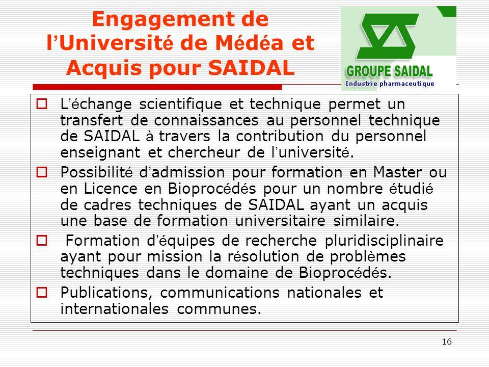 16 Engagement de l ' Universit é de M é d é a et Acquis pour SAIDAL  L 'é change scientifique et technique permet un transfert de connaissances au pe