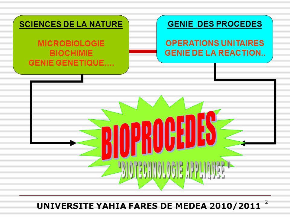 2 GENIE DES PROCEDES OPERATIONS UNITAIRES GENIE DE LA REACTION.. SCIENCES DE LA NATURE MICROBIOLOGIE BIOCHIMIE GENIE GENETIQUE…. UNIVERSITE YAHIA FARE