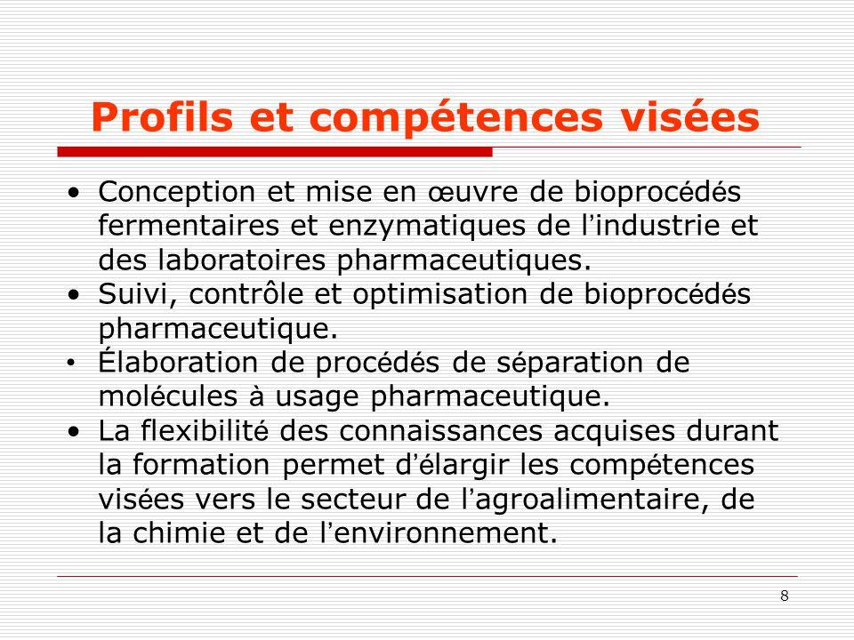 8 Profils et compétences visées Conception et mise en œ uvre de bioproc é d é s fermentaires et enzymatiques de l ' industrie et des laboratoires phar
