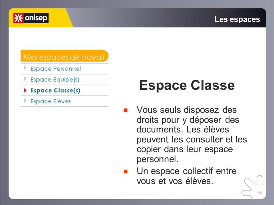 11 Les espaces Espace Classe Vous seuls disposez des droits pour y déposer des documents. Les élèves peuvent les consulter et les copier dans leur esp