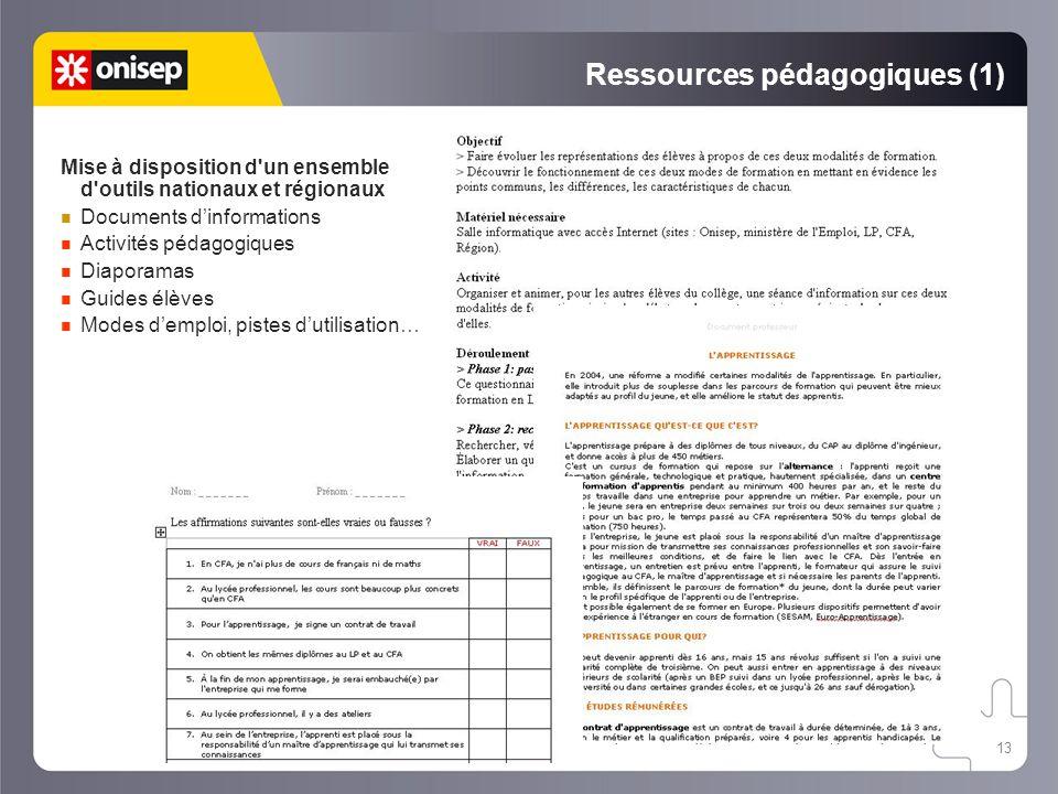 13 Ressources pédagogiques (1) Mise à disposition d'un ensemble d'outils nationaux et régionaux Documents d'informations Activités pédagogiques Diapor