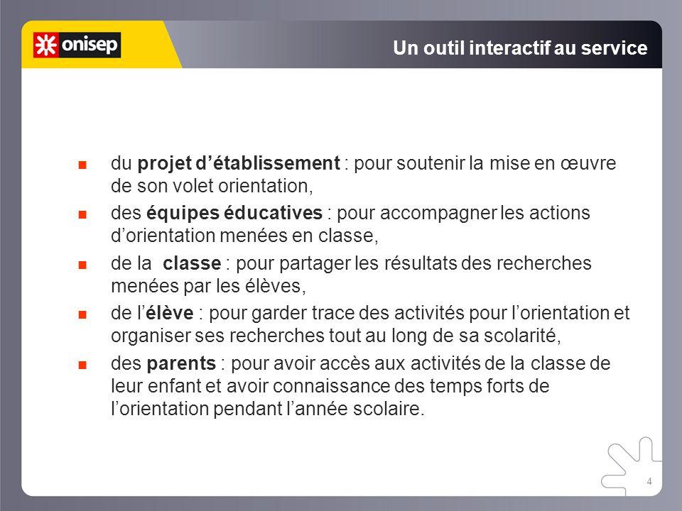 4 Un outil interactif au service du projet d'établissement : pour soutenir la mise en œuvre de son volet orientation, des équipes éducatives : pour ac
