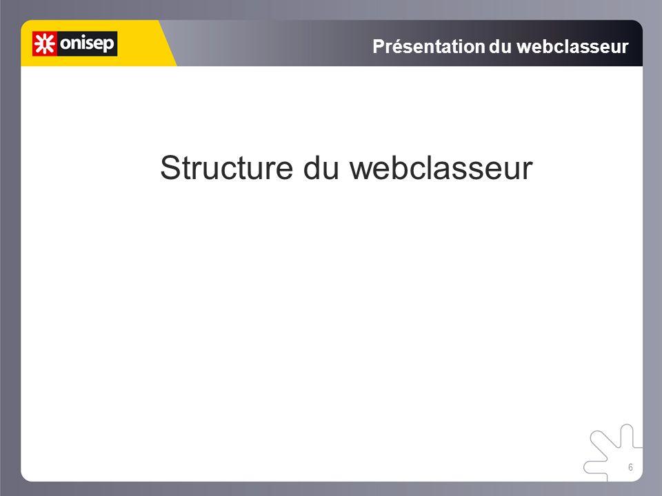 6 Présentation du webclasseur Structure du webclasseur