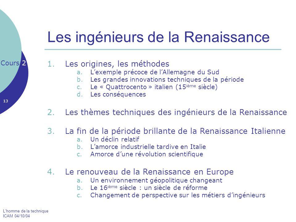 L'homme de la technique ICAM 04/10/04 13 Les ingénieurs de la Renaissance 1.Les origines, les méthodes a.L'exemple précoce de l'Allemagne du Sud b.Les