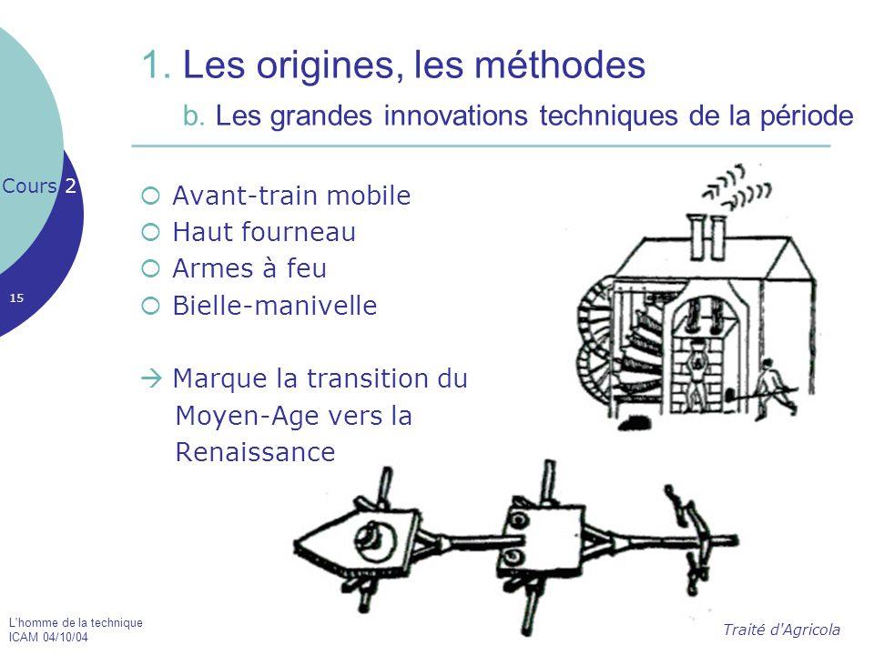 L'homme de la technique ICAM 04/10/04 15 1. Les origines, les méthodes b. Les grandes innovations techniques de la période  Avant-train mobile  Haut
