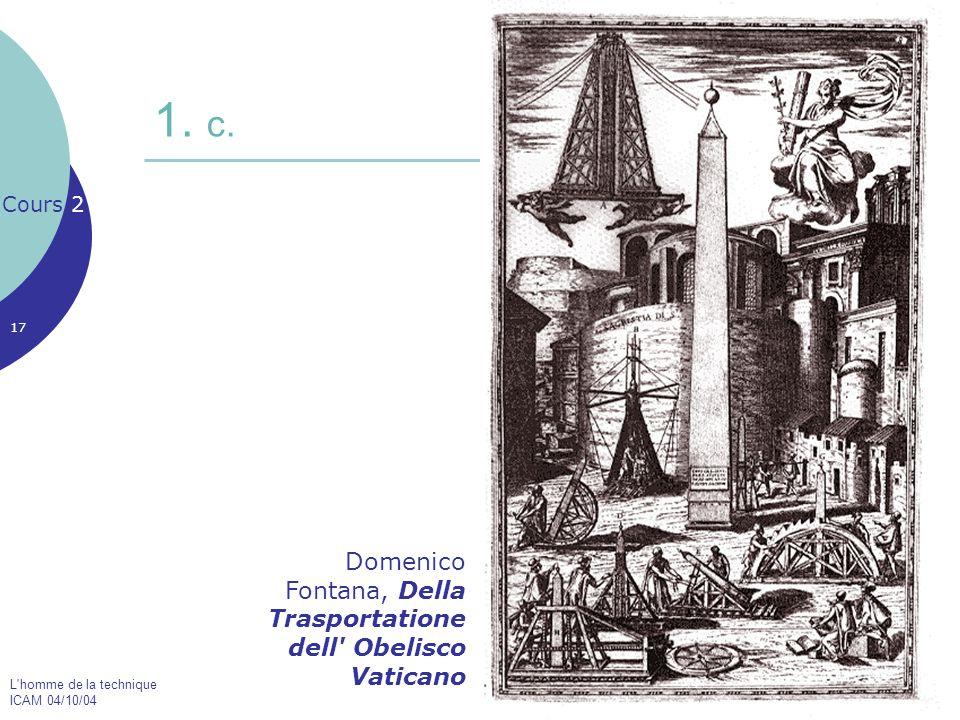 L'homme de la technique ICAM 04/10/04 17 1. c. Cours 2 Domenico Fontana, Della Trasportatione dell' Obelisco Vaticano