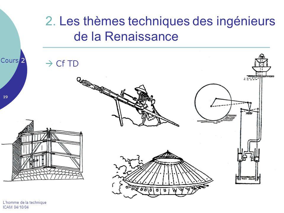 L'homme de la technique ICAM 04/10/04 19 2. Les thèmes techniques des ingénieurs de la Renaissance  Cf TD Cours 2