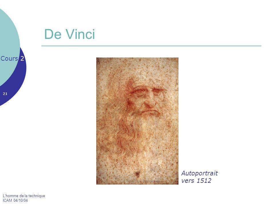 L'homme de la technique ICAM 04/10/04 21 De Vinci Cours 2 Autoportrait vers 1512