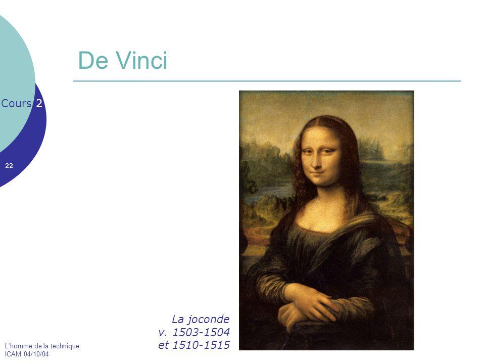 L'homme de la technique ICAM 04/10/04 22 De Vinci Cours 2 La joconde v. 1503-1504 et 1510-1515
