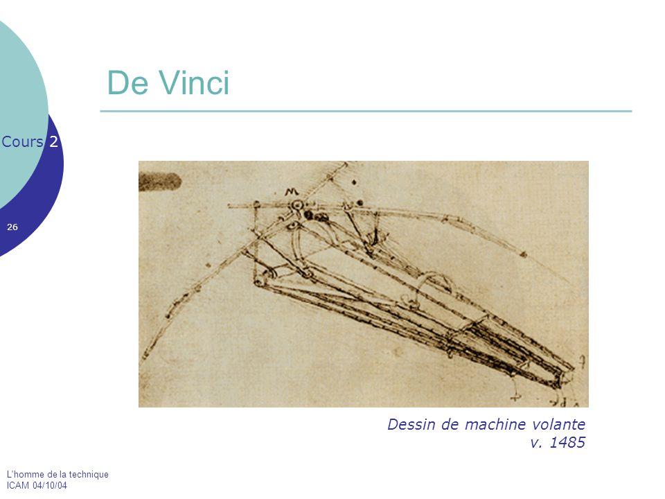L'homme de la technique ICAM 04/10/04 26 De Vinci Cours 2 Dessin de machine volante v. 1485