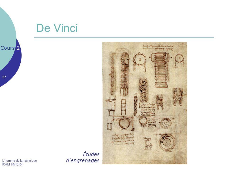 L'homme de la technique ICAM 04/10/04 27 De Vinci Cours 2 Études d'engrenages