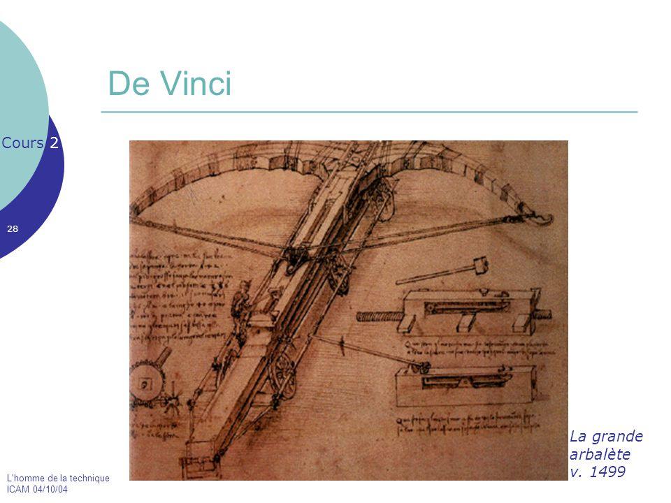 L'homme de la technique ICAM 04/10/04 28 De Vinci Cours 2 La grande arbalète v. 1499