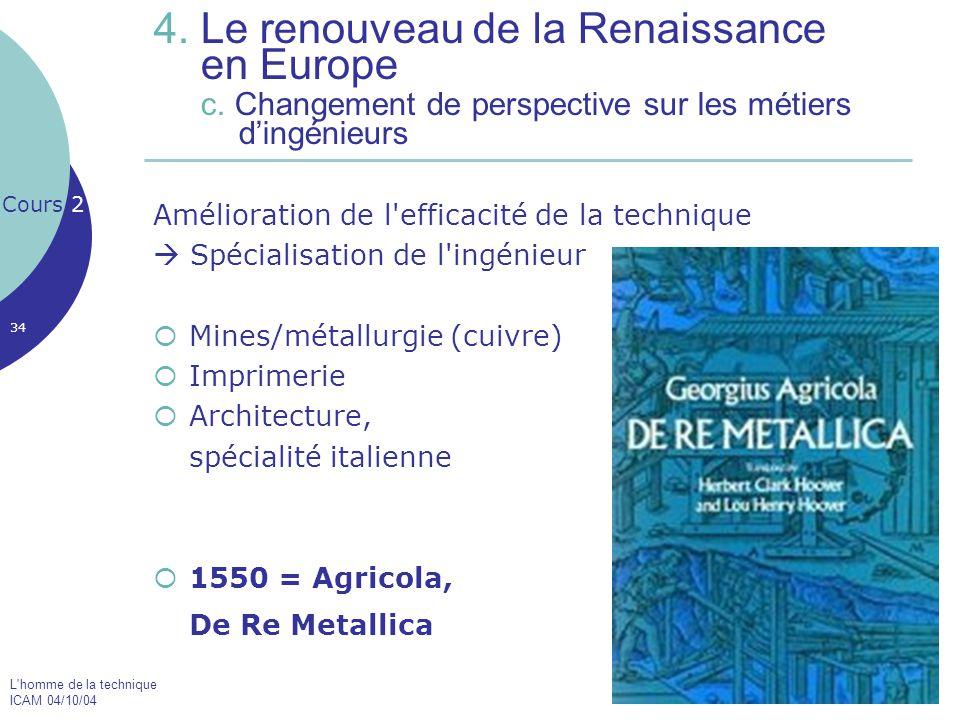 L'homme de la technique ICAM 04/10/04 34 4. Le renouveau de la Renaissance en Europe c. Changement de perspective sur les métiers d'ingénieurs Amélior