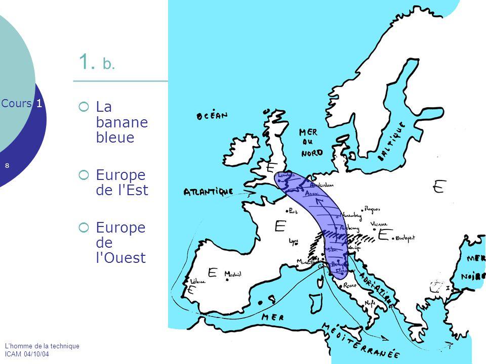 L'homme de la technique ICAM 04/10/04 8  La banane bleue  Europe de l'Est  Europe de l'Ouest Cours 1 1. b.