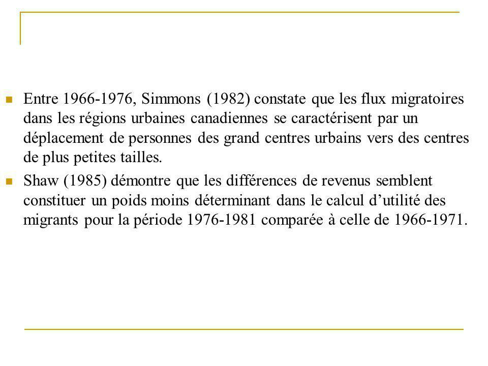 Entre 1966-1976, Simmons (1982) constate que les flux migratoires dans les régions urbaines canadiennes se caractérisent par un déplacement de personn
