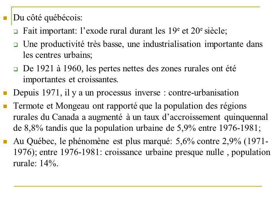 Du côté québécois:  Fait important: l'exode rural durant les 19 e et 20 e siècle;  Une productivité très basse, une industrialisation importante dan