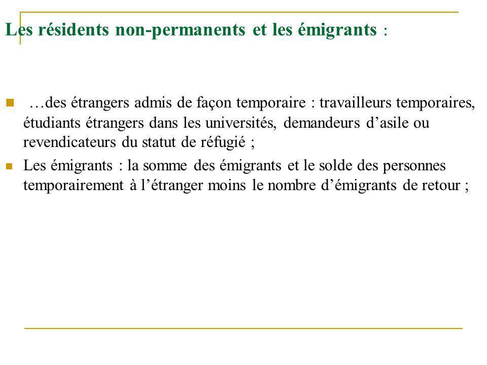 Les résidents non-permanents et les émigrants : …des étrangers admis de façon temporaire : travailleurs temporaires, étudiants étrangers dans les univ