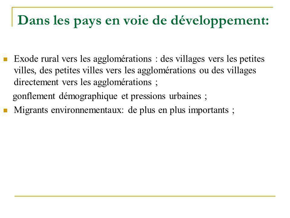 Dans les pays en voie de développement: Exode rural vers les agglomérations : des villages vers les petites villes, des petites villes vers les agglom