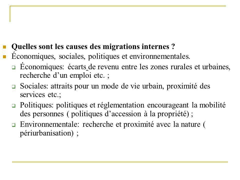 Quelles sont les causes des migrations internes ? Économiques, sociales, politiques et environnementales.  Économiques: écarts de revenu entre les zo