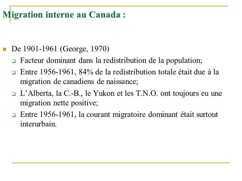 Migration interne au Canada : De 1901-1961 (George, 1970)  Facteur dominant dans la redistribution de la population;  Entre 1956-1961, 84% de la red