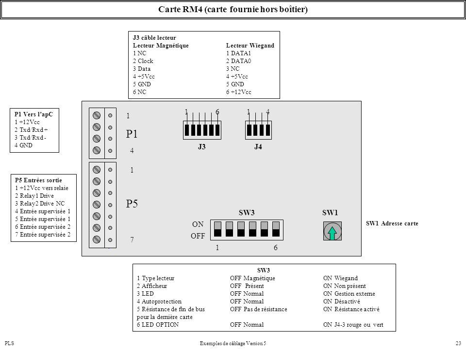 PLSExemples de câblage Version 523 Carte RM4 (carte fournie hors boîtier) P1 Vers l'apC 1 +12Vcc 2 Txd/Rxd + 3 Txd/Rxd - 4 GND P5 Entrées sortie 1 +12