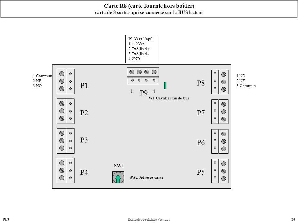 PLSExemples de câblage Version 524 Carte R8 (carte fournie hors boîtier) carte de 8 sorties qui se connecte sur le BUS lecteur P2 P1 SW1 1 Commun 2 NF