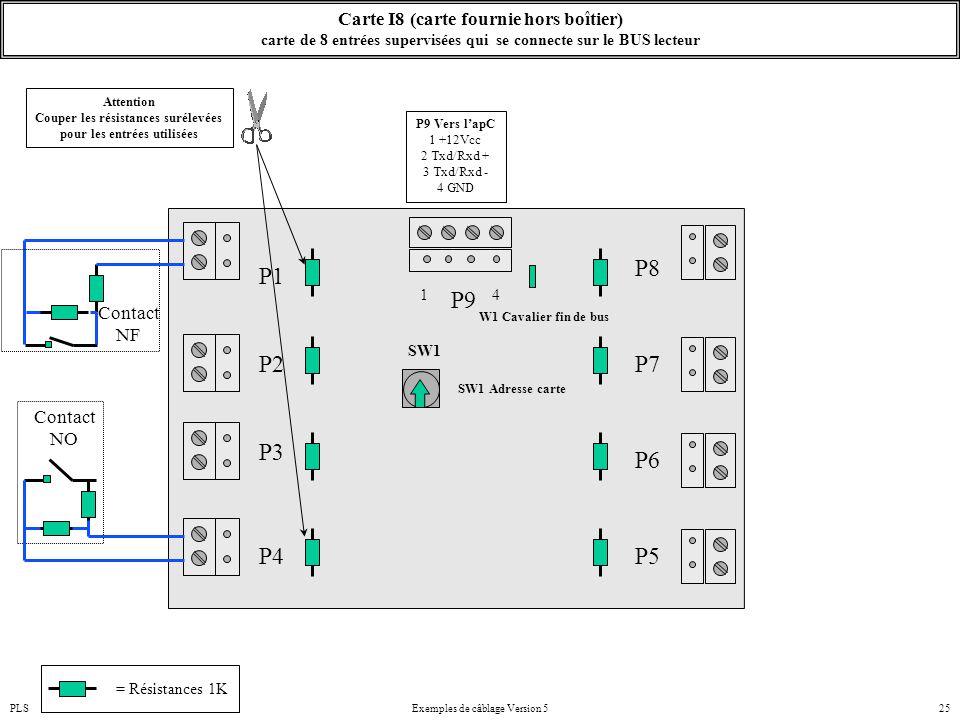 PLSExemples de câblage Version 525 Carte I8 (carte fournie hors boîtier) carte de 8 entrées supervisées qui se connecte sur le BUS lecteur P2 P1 SW1 S