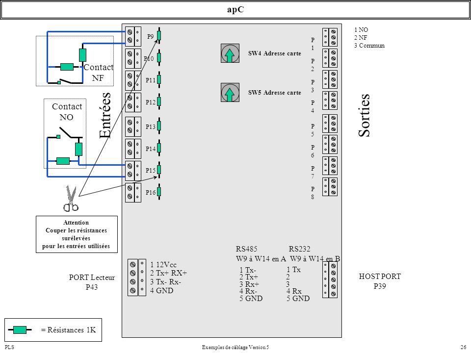 PLSExemples de câblage Version 526 apC SW4 Adresse carte Attention Couper les résistances surélevées pour les entrées utilisées P10 P9 P11 P12 Contact