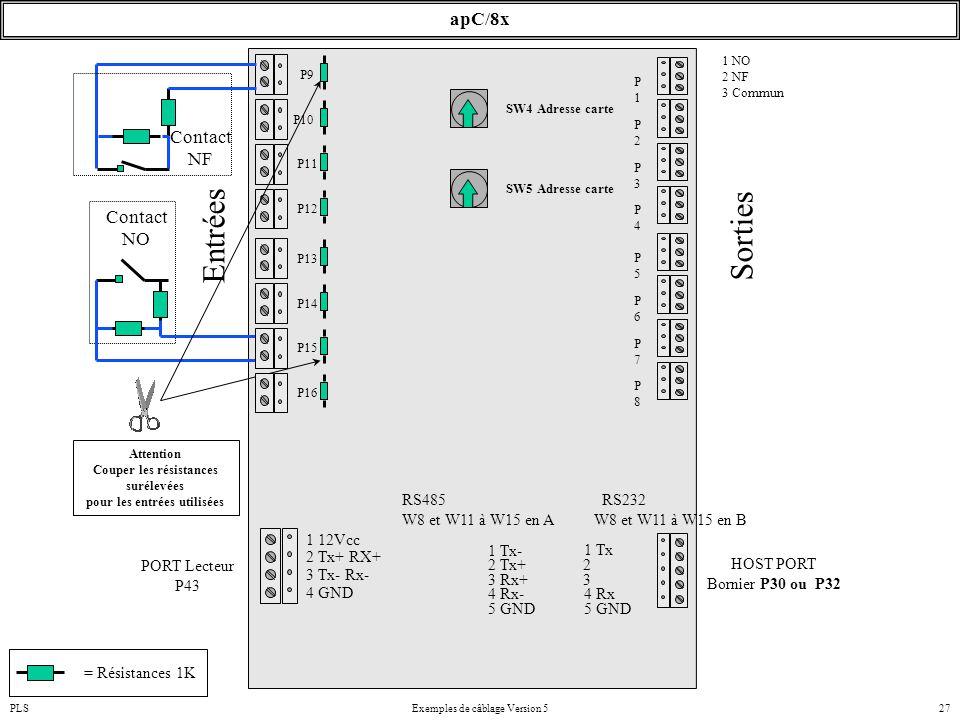 PLSExemples de câblage Version 527 apC/8x SW4 Adresse carte Attention Couper les résistances surélevées pour les entrées utilisées P10 P9 P11 P12 Cont