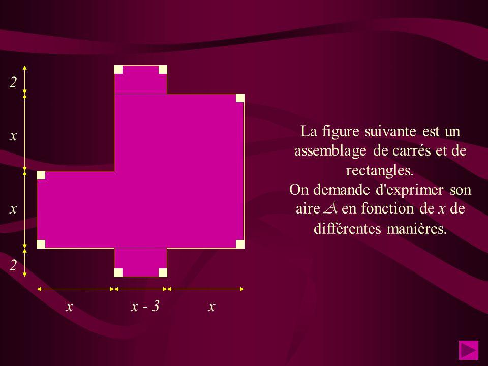* Exprime l'aire A et le périmètre P du rectangle ci-contre en fonction de x.(x > 3). Calcule cette aire et ce périmètre si x = 13/3 * Traduire les 5