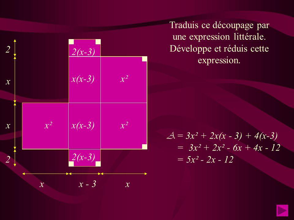 x x x x x - 3 2 2 La figure suivante est un assemblage de carrés et de rectangles. On demande d'exprimer son aire A en fonction de x de différentes ma