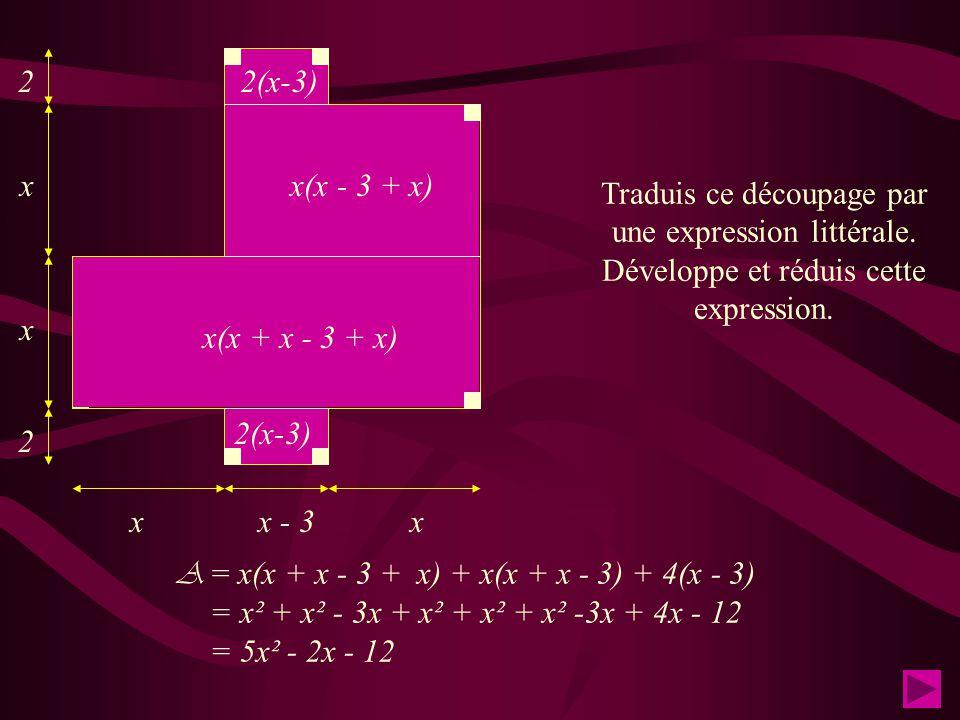 x x x x x - 3 2 2 Traduis ce découpage par une expression littérale. Développe et réduis cette expression. x² x(x-3) 2(x-3) A = 3x² + 2x(x - 3) + 4(x-