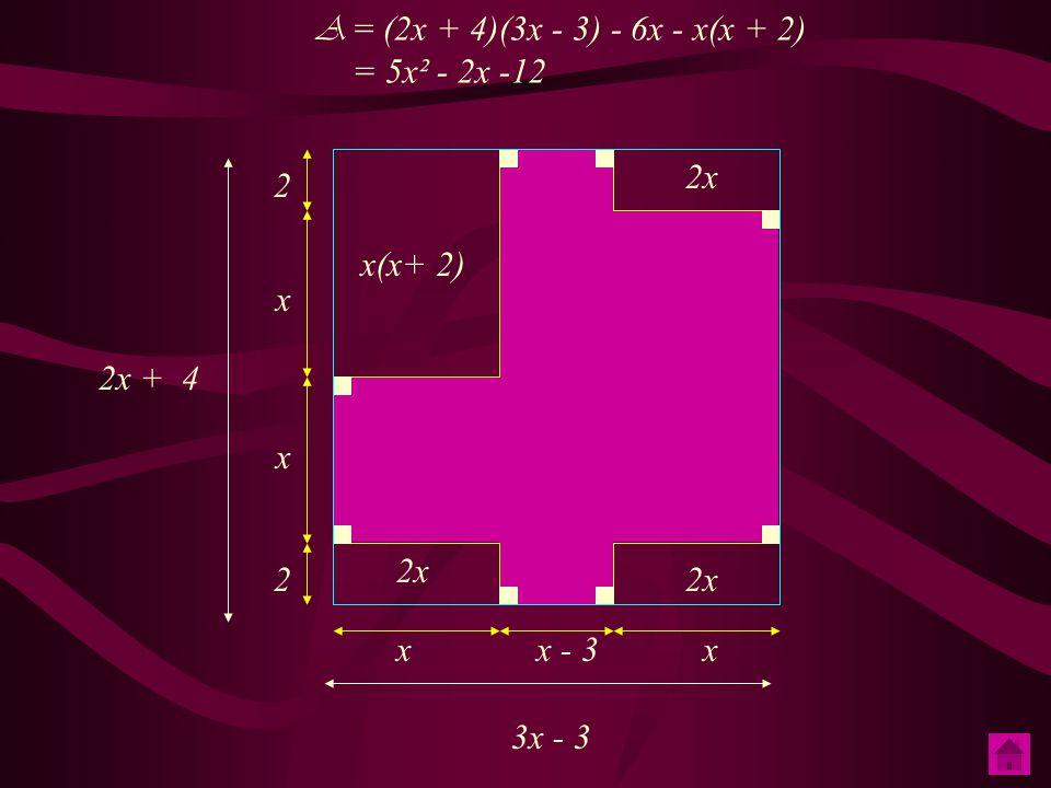 Quel découpage faut - il imaginer pour trouver cette expression ? A = (2x + 4)(3x - 3) - 6x -x(x + 2) = 6x² - 6x + 12x - 12 - 6x -x² - 2x = 5x² - 2x -