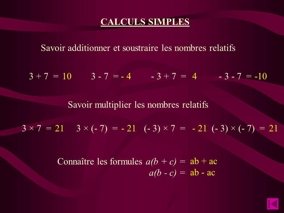 CALCULS SIMPLES Savoir additionner et soustraire les nombres relatifs Savoir multiplier les nombres relatifs Connaître les formules a(b + c) = a(b - c) = 3 + 7 =3 - 7 =- 3 + 7 =- 3 - 7 = 3 × 7 =3 × (- 7) =(- 3) × 7 =(- 3) × (- 7) = 10- 44-10 21 - 21 21 ab + ac ab - ac