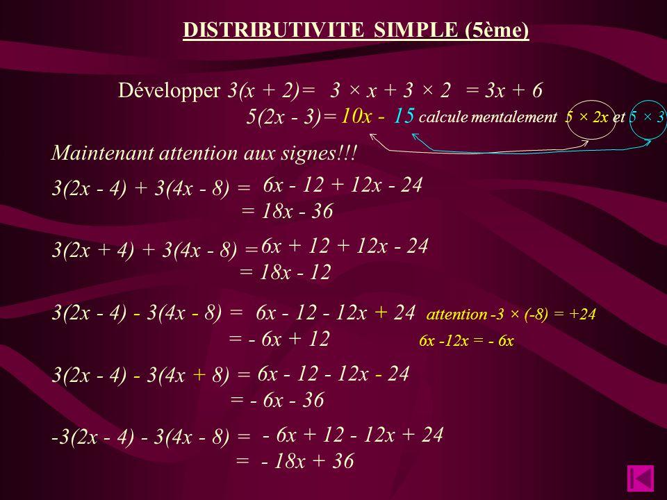 DISTRIBUTIVITE SIMPLE (5ème) Développer 3(x + 2)= 5(2x - 3)= Maintenant attention aux signes!!.