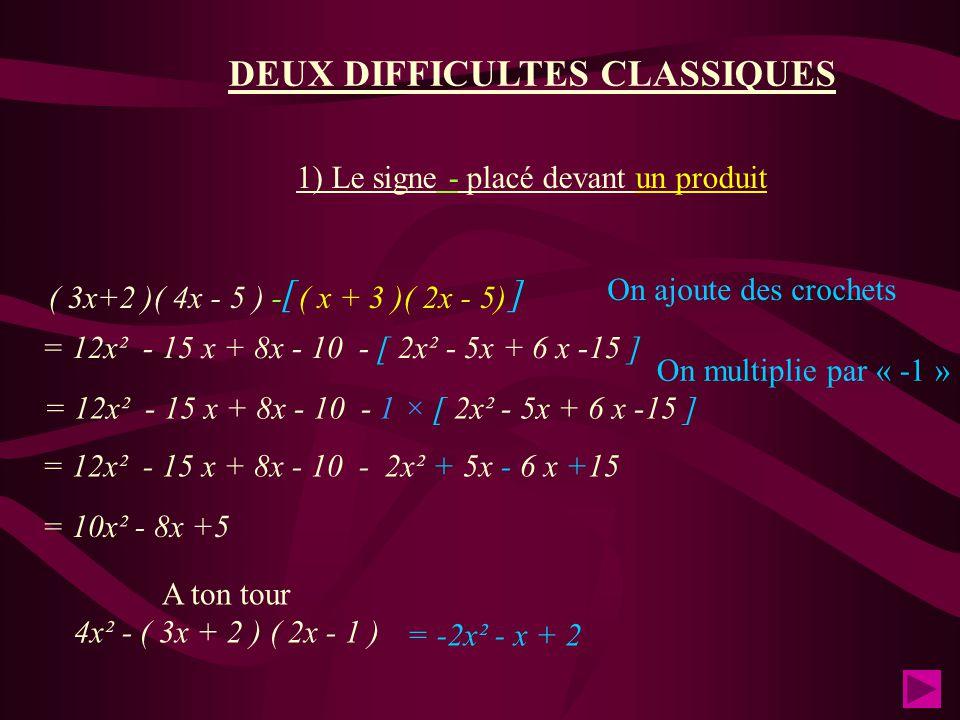 DEUX DIFFICULTES CLASSIQUES 1) Le signe - placé devant un produit ( 3x+2 )( 4x - 5 ) - ( x + 3 )( 2x - 5) On ajoute des crochets [ ] = 12x² - 15 x + 8x - 10 - [ 2x² - 5x + 6 x -15 ] = 12x² - 15 x + 8x - 10 - 2x² + 5x - 6 x +15 On multiplie par « -1 » = 10x² - 8x +5 A ton tour 4x² - ( 3x + 2 ) ( 2x - 1 ) = -2x² - x + 2 = 12x² - 15 x + 8x - 10 - 1 × [ 2x² - 5x + 6 x -15 ]