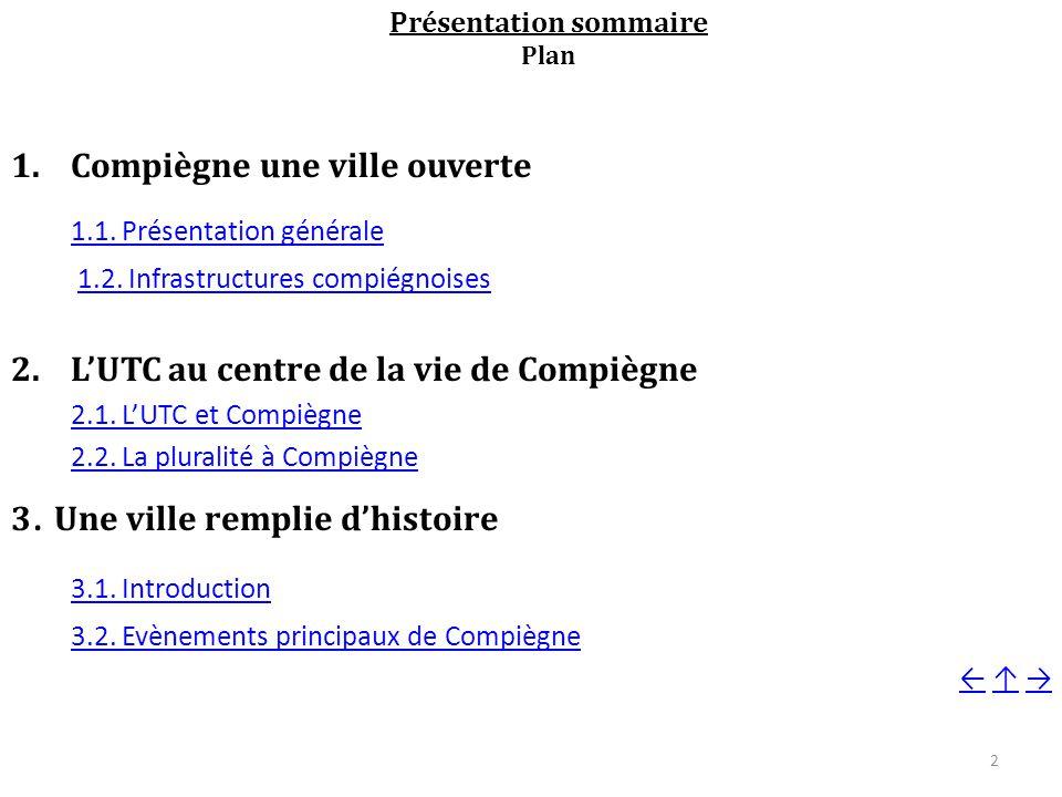 Présentation sommaire Plan 1.Compiègne une ville ouverte 1.1.